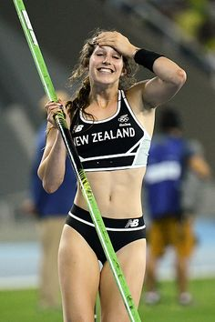 New Zealand's Eliza McCartney reacts while competing in the Women's Pole Vault…