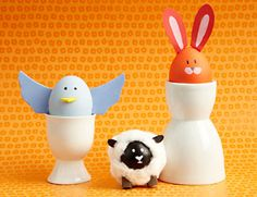 Egg Critters - Turn your Easter eggs into the adorable animals of Spring. Easy to make and fun to show off. Use easy-to-find materials such as craft foam or scrapbook paper, cut out bitty animal features like ears, wings, a nose or a tail. Hot glue each feature to a dyed egg, and for a fluffy effect, glue on cotton balls. From Homemadesimple.com