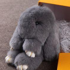 Cute fluffy bunnies rabbits gray small charm keychain phone charm bag charm 74ab7b9d37