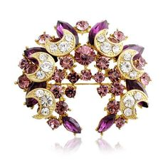 New Design Moon Crescent Brooch Pin With Purple Crystal Free Shipping BP-W008 | eBay