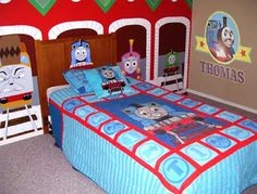 Toby tram train Gordon Thomas and his friends curtains drapes enhance toddler bedroom sleeping area