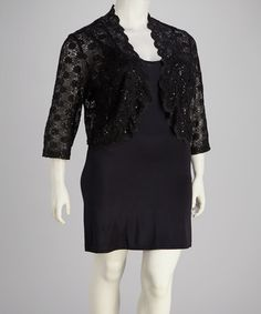 Take a look at this Black Lace Ruffle Plus-Size Shrug by R Richards on #zulily today!