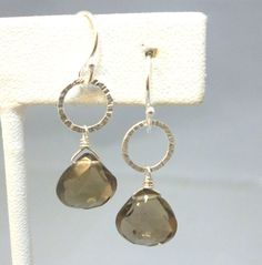 Textured sterling silver and faceted smokey by SilverSirenStudios, $29.00