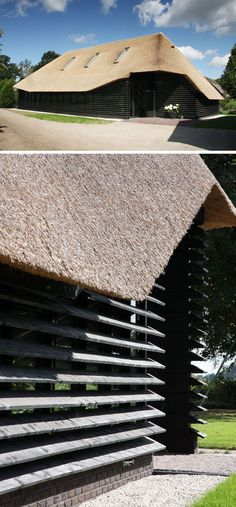 12 Examples Of Modern Houses And Buildings That Have A Thatched Roof // The thatched roof on this building helped retain its historical roots while the rest of the barn was turned into a contemporary work space. Eco Architecture, Vernacular Architecture, Architecture Details, Thatched House, Thatched Roof, Fibreglass Roof, Roof Structure, Small House Design, Roof Design