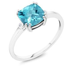 Gem Stone King 10K White Gold Ring 2.75 ct Checkerboard Swiss Blue Topaz with Diamond Accent (Available in size 5, 6, 7, 8, 9)