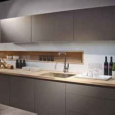 New Poggenpohl Colour - Stone Grey here is combination with Spekva wood worktop Most Popular Kitchen Design Ideas on 2018 & How to Remodeling Cosy Kitchen, Kitchen Sets, New Kitchen, Kitchen Decor, Kitchen Wood, Kitchen Grey, Kitchen Walls, Kitchen Pantry, Kitchen Colors
