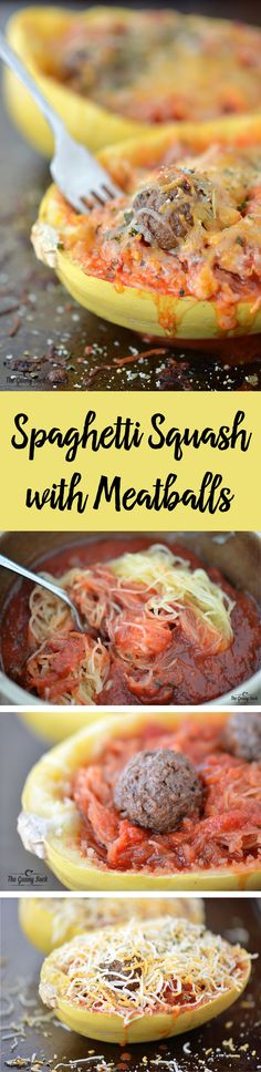 Skip the pasta and try this low carb cheesy recipe for spaghetti squash with meatballs!