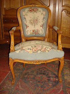 French Antique Hand Carved Arm Chair Needlepoint Tapestry Upholstery - Found on Ruby Lane