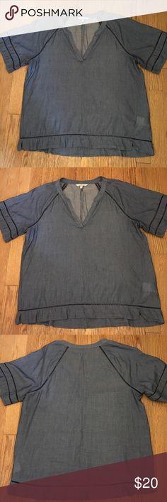 V-neck Calvin Klein blouse Good condition. Lightweight. Open-stitch detailing. Calvin Klein Tops Blouses