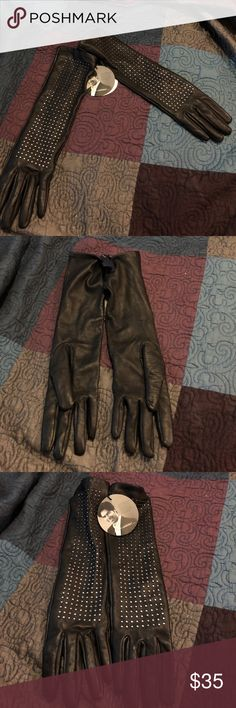 Brian Atwood Gloves L/XL NWT black studded Super cute $49.99 for the target neiman Marcus line. Never used. Large XL. Smoke free home. Brian Atwood Accessories Gloves & Mittens