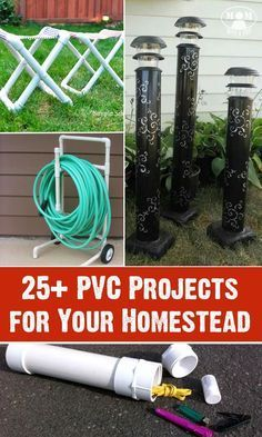 PVC pipe is relatively inexpensive and quite easy to work with. Here are 25 projects for your self-reliant home! Pvc Pipe Crafts, Pvc Pipe Projects, Outdoor Projects, Garden Projects, Home Projects, Projects To Try, Craft Projects, Backyard Projects, Lathe Projects