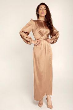 Julianna Satin Wrap Waist Maxi Dress - Caramel White Maxi Dresses, Maxi Wrap Dress, Maxi Dress With Sleeves, Modest Dresses, Satin Dresses, Silk Dress, Modest Fashion Hijab, Modesty Fashion, Fall Fashion Outfits