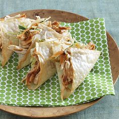 """Sassy Wonton Tacos:  We don't know what makes them """"sassy"""" but we do know what makes them delicious: the taste of BBQ with a refreshing hint of fresh cilantro. #asian #lowcalorie   Health.com"""