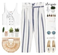 """""""Striped Pants"""" by doga1 ❤ liked on Polyvore featuring MANGO, Soludos, Cult Gaia, Ray-Ban, Umbra, Narciso Rodriguez, Chive and stripedpants"""
