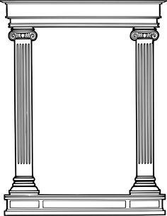 Roman column frame - /page_frames/more_frames/column/Roman_column_frame. Interior Ceiling Design, Pillar Design, Classic House Exterior, Wooden Main Door Design, 3d Art Drawing, Roman Columns, Architecture Sketchbook, Column Design, House Front Design