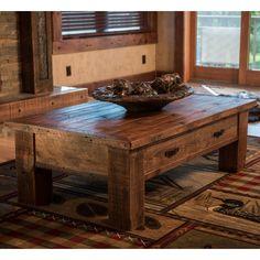 Barnwood Coffee Table, Log Coffee Table, Coffee Table With Drawers, Rustic Coffee Tables, Wood Table, Woodworking Outdoor Furniture, Log Furniture, Furniture Design, Business Furniture