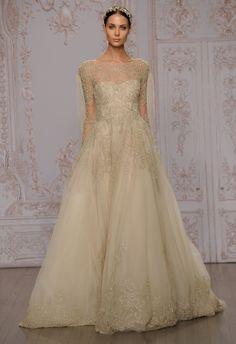 Metallic A-Line Wedding Dress   Monique Lhuillier Fall 2015   blog.theknot.com