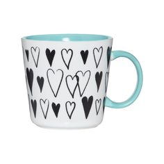 Debenhams Stoneware teal hearts mug- at Debenhams.com