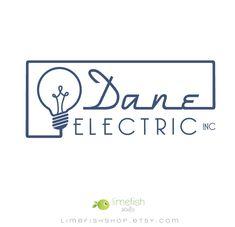Limefish Studio: Custom Logo + Branding :: Dane Electric Logo :: Light Bulb Logo, Electrician Logo, Business Logo, Smart Logo