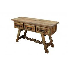"Pine door sofa table - Item #CRL-01 - $818.25 - Dimensions: 55"" l x 32"" h x 18"" w - Recycled Pine Door Sofa Table with three drawers is part of our newest lines of Rustic Furniture Home Decor. Rough lines, 100% solid pine wood construction with matching pieces. No veneers are used. Hand forged iron drawer pulls.  http://www.tresamigosworldimports.com - 2014 - Tres Amigos World Imports, Inc. 4443 East Speedway Tucson, AZ 85712"