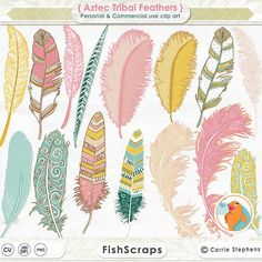 Digital Feather Clip Art - Decorative, Baby Shower Clip Art, Digital Graphics for creating Invitations, Digital Scrapbooks, Cards, Pillows, Prints and Feather Clip Art, Tribal Feather, Blue Feather, Yellow Feathers, Colorful Feathers, Bear Clipart, Create Invitations, Teal Yellow, Clipart Images