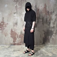 Asymmetric wrap layered black crop drawcord pants - 142