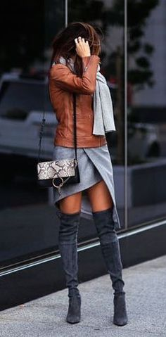 #winter #fashion / leather + gray