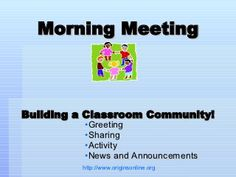 morning-meeting-greetings by Mandie Funk via Slideshare maybe convert to smartboard and randomize Classroom Behavior, Classroom Management, Classroom Ideas, Classroom Organization, Behavior Management, Classroom Activities, Classroom Meeting, Classroom Procedures, Class Activities