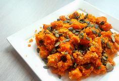 Recept: Pompoencouscous met zoete aardappel, wortel, rozijnen en pompoenpitten - Muy Maaike