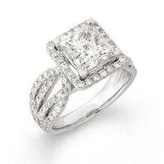 14k White Gold 4 2/5ct TDW Princess-cut Diamond Engagement Ring (H, I1)