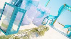 #Caribbean blue lanterns #Caribbean blue beach wedding