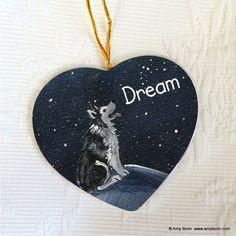 HEART SHAPED CERAMIC ORNAMENT · DREAM · ALASKAN MALAMUTE · AMY BOLIN - Amy Bolin's Far Out! Art