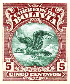 1928 Bolivia Andean Condor Postage Stamp,condor,bolivia,andes,vulture,bird,prey,symbol,antique,postage,stamp,postal,mail,ephemera,south america,bolivian stamp,andean condor,andes mountains