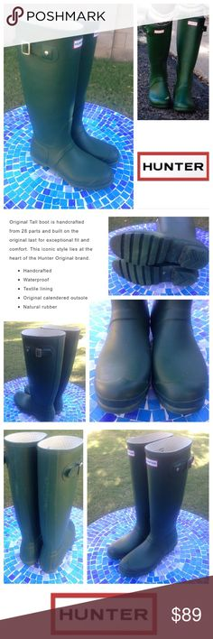 GORGEOUS!  HUNTER Original matte rain boots- green Super pretty, green HUNTER rain boots have been pre-worn with lots of life left!  These authentic, 100% waterproof rubber  boots are made from comfy materials that feel great on and will help you puddle-jump, in style!  Boots show small scratches to rubber with some blooming (which is natural to protect cracking) yet still in nice condition!  Retail at $150!  No trades please.  Size is UK 7 US 8M/9F and 40/41 EU. Hunter Boots Shoes Winter…
