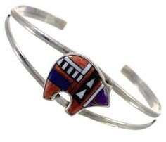 Multicolor Inlay Sterling Silver Southwest Bear Cuff Bracelet EX28177