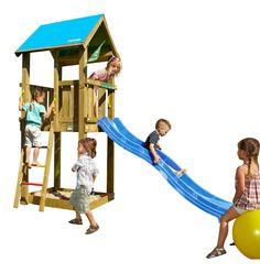 JUNGLE GYM Spielturm CASTLE Kletterturm mit Rutsche Holz Spielhaus Baumhaus Holz