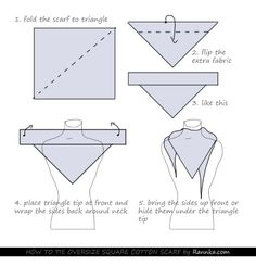 HOW TO TIE OVERSIZE SQUARE COTTON SCARF by Rannka #Rannka