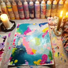 """I had a power outage yesterday evening just as I started to paintSo I grabbed some candles and my selfie light (it's a thing and I love it) and continued all through until the lights came back on! I was major productive too. I did 7 new paintings in one go (several hours). I don't have any video footage thanks to the poor light situation though. Will upload this new """"power outage series"""" on my website soon if you're interested. First I need to get some decent pictures in good light…"""