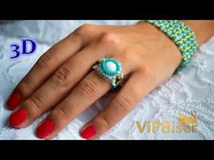 Beaded Ring Turquoise. 3D Beading Tutorial - YouTube