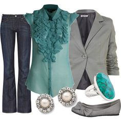 """Another good """"Casual Friday"""" outfit. I could wear this out on the weekend, or add dress pants for a work look :) outfit ideas for women Casual Friday Outfit, Casual Outfits, Mode Outfits, Fashion Outfits, Womens Fashion, Look Office, Casual Office, Teacher Outfits, Business Attire"""