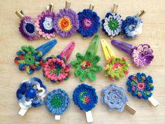 Flower Hair Clips, Crocheted Flower, Spring, Summer, Girly, Flower Power, BUY 4 get ONE FREE