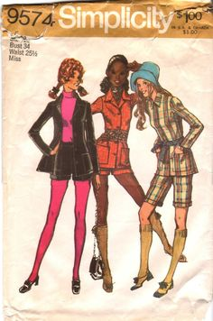 "Vintage Sewing Pattern 70s SHORTS SUIT, Short Shorts or Knee Length Shorts, Shirt/Jacket with Patch Pockets- size 12 - bust 34"" (87 cm). $9.99, via Etsy."