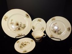 5pc Place Setting Lenox Pine Rimmed Soup Bowl Gold Stamp USA Cone Needle W-331 #Lenox