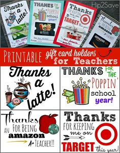 FREE Printable Gift Card Holders for Teacher Gifts (Great for Teacher Appreciation Week) by Hip2Save.com