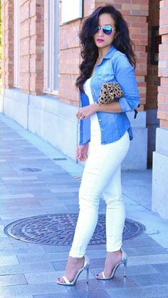 e453cd1fa0 Simple way to style white jeans. Pair it with a white tee and chambray shirt