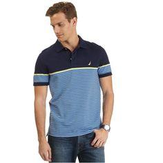 Slim Fit Engineered Stripe Deck Polo Shirt - Nautica