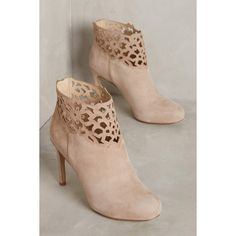 Miss Albright Benna Heeled Booties ($188) ❤ liked on Polyvore featuring shoes, boots, ankle booties, taupe, miss albright, taupe boots, taupe ankle booties, miss albright boots and taupe booties