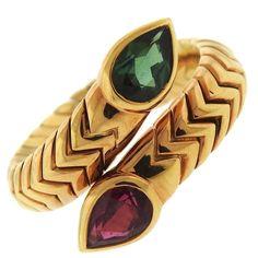 Bulgari Spiga Ruby Tourmaline Gold Bypass Ring