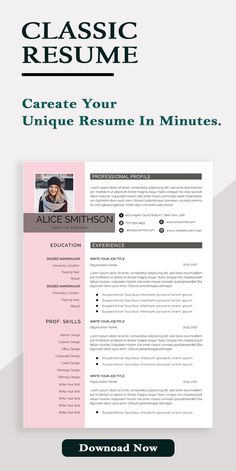 One Page Resume Template, Teacher Resume Template, Modern Resume Template, Cv Template, Resume Templates, Resume Words, Resume Writing, Word Cv, Student Planner Printable