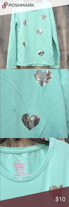 Cute Girls Blouse w/Silver Sequins Hearts Faded Glory girls long sleeve top with sequins hearts 💕 on the front Faded Glory Shirts & Tops Tees - Long Sleeve